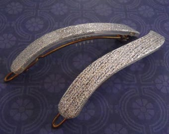2 Vintage French Barrettes Silvery Glitter Wavy Plastic 1970s approx 2 1/2  x 3/8 inch (65 x 10 mm)
