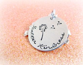 Scatter Kindness Dandelion Fluff Necklace - Necklace for Her - Hand Stamped Flower - Dandelion Design - everythingprettyshop theartisangroup
