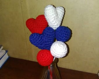 Crochet heart bouquet