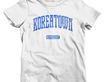 Kids Koreatown Represent T-shirt - Baby, Toddler, and Youth Sizes - Kids Tee, Gift, Korean, Chicago, Atlanta, NYC, LA - 4 Colors