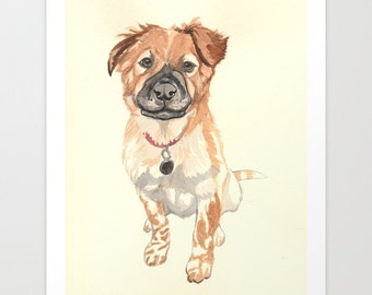 One Pet. Custom Pet Portrait. Painted from your photo. Art for pet owners. Pet Art. Pet memorial art. Gift idea for pet owners.