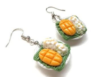 Mango sticky rice earring | Desert earring| Food earring | Food Jewelry | Miniature Foods | Thai Foods | Gift | Earring Cute
