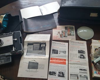 Vintage Polaroid Land Camera 101 Automatic with Genuine Leather Carry Case, Instructions, Polaroid Flash and Sylvania Flashbulbs SALE