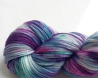 Sparkle Sock 4 ply Hand Dyed Yarn  Merino Wool Nylon 4 Ply Stellina Sock Wool Knitting Yarn -  Twilight Sparkle