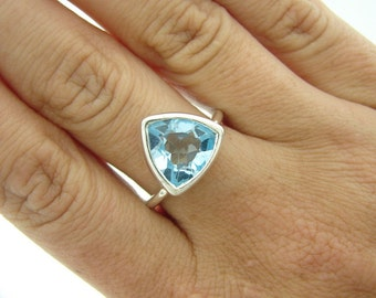 Trillion Ring, Blue Topaz, Engagement Ring - Solitaire Ring, 925 Sterling Silver Ring