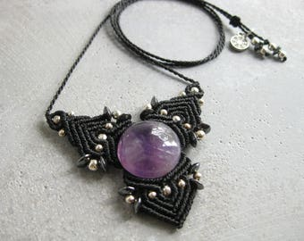 Amethyst Black Pendant Macrame Necklace . Goth Quartz Pendant . Fiber Textile Jewelry . Designed by raiz
