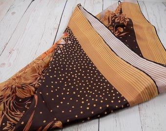 Floral neck scarf,reversible,brown,ivory,beige,retro neck scarf,head scarf,head covering,head wrap,vintage,scarves,polka dot,flowers,stripes