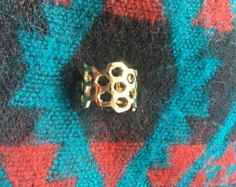 Bees Please Love Honey Comb Adjustable Ring