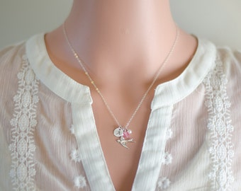 Sterling Silver Bird Necklace | Hand Stamped Initial Necklace | Birthday Gift | White Pearl | Dainty Dove Necklace | Sparrow Jewelry