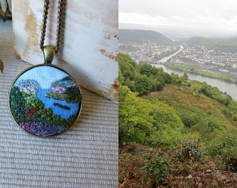 Custom Landscape necklace, free shipping, embroidered pendant, embroidery countryside, Embroidered jewelry, Embroidered necklace, needlework