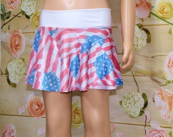 Red White Blue American USA Flag Circle Twirl Skirt Child ALL Sizes - MTCoffinz
