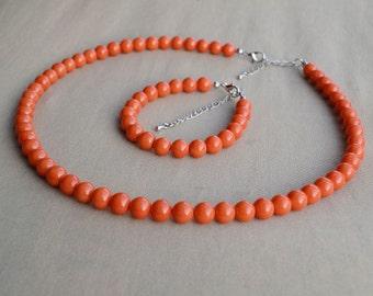 orange pearl bracelet, orange pearl necklace, orange pearl set, wedding jewelry set,bridesmaid jewelry set, glass pearl set, orange necklace