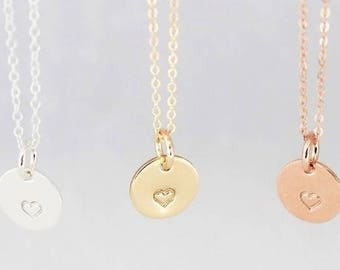 rose gold heart charm necklace, gold heart charm, silver heart charm, heart necklace, everyday necklace, layering necklace, ready to ship