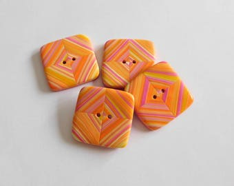 24 mm square pink yellow orange polymer clay buttons