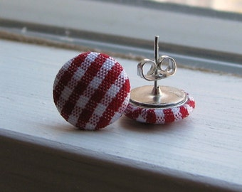 Red Gingham Button Stud Earrings