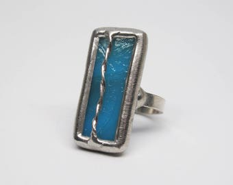 Turquoise Storm - Sterling Silver Stained Glass Ring - Size 7.5
