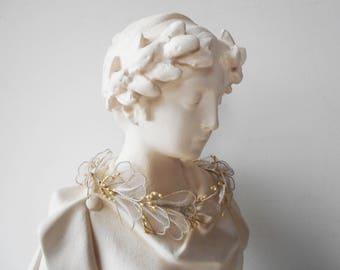 Bridal Crown Antique Wax Flowers Pearls Tulle leaves