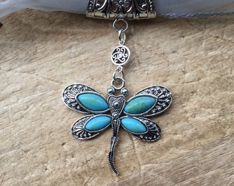 Dragonfly scarf ring pendant with turquoise stones to thread your favourite scarf through