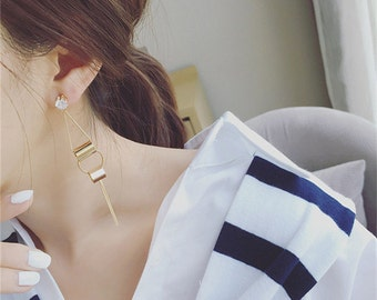 Inlay with zircon Vertical stick geometry earring - Rose Gold color - Metal Texture - alloy -  Retro fashion - E066