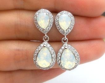 wedding jewelry bridal earring bridesmaid gift prom Clear white teardrop cubic zirconia white opal swarovski crystal rhodium teardrop post