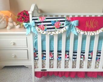 Watercolor Crib Bedding, Pink Crib Bedding, Floral Bumperless Crib Bedding, Gold Dot Baby Bedding, Baby Bedding, Aqua Crib Bedding Set