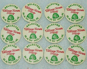 12 NOS New Village Farm Dairy Bonduel Wisconsin Milk Bottle Caps Lot of 12