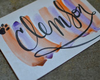 Clemson Calligraphy Card - Handmade Watercolor Card - Blank Inside