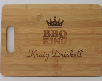 BBQ King Cutting board, Grilling Gift for Grillmaster, Barbecue Serving board