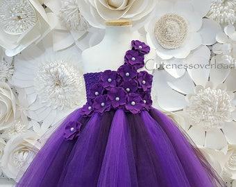 Eggplant Wedding Girl Dress-Eggplant Girl Dress-Eggplant Tulle Dress-Eggplant Flower Girl Dress-Girl Tutu-Toddler Dress-Eggplant Lace Dress.