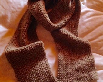 Long scarf beige wool
