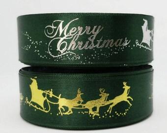25Yards Green Christmas Single Faced Satin Ribbon - 25mm(1'')