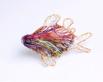 Red fish brooch, wire sculpture art, beach, tropical, colorful, modern hippie, nature, ocean jewelry, cute pin, Summer, birthday gift women