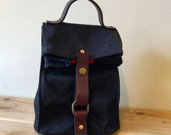Black Waxed Canvas, Cordura, and Leather Reusable Insulated Lunch Bag