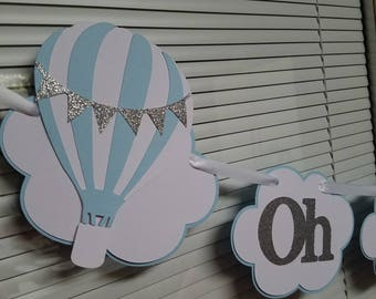 Hot air balloon banner, Hot air balloon baby shower,  Hot air balloon decorations, hot air balloon party, hot air balloon birthday