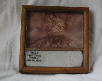 Mount Saint Helens Eruption May 18, 1980 Framed Picture and Ash - Breakdown of Elements Volcanic Ash from Mount Saint Helens - Earth Science
