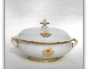 Antique French Porcelain Tureen - Signed Lerosey Old Paris Porcelain- Family Heirloom Wedding Gifts-Rihoeul Lerosey Paris