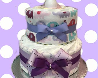 Purple Baby Shower Diaper Cake Gift Set