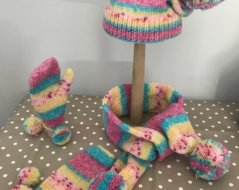 Girl's pink, blue and yellow pom-pom hat, scarf and gloves set