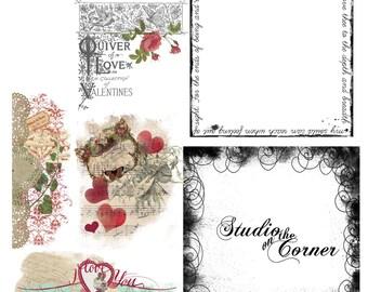 Digital Valentine Scrapbook Overlays, Digital Overlays, Scrapbook Overlays, Valentine Overlays, Overlays for Digital Scrapbooking,