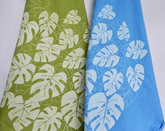 Monstera Kitchen Towel, LIMITED Hand Dyed, Hand Printed, Monstera, Moss Green or Periwinkle, Hand Dyed Cotton