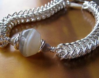 Unisex Sterling Silver Bracelet, Handmade Chainmaille Jewelry, Amber Agate Men's Women's Bracelet