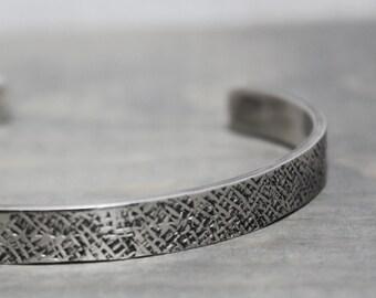 Mens Silver Cuff, 1/4 Cross Hatch Oxidized Silver Cuff, Silver Cuff, Hand Stamped Jewelry, Personalized Jewelry, Jewelry for Men, Men Custom