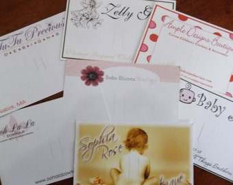 50 Custom Printed Hairbow/Bow Cards - Barrette Cards -  Professionally printed - Super Thick 15pt Cardstock