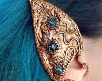 Elf ear cuff / Polymer clay cuff / Faerie ear cuff / Vintage jewerly / Copper wire ear cuff / Pagan earring