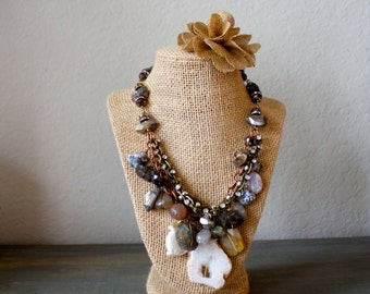 Mixed Gemstone and Chain Necklace