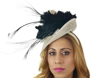 Black Cream Ascot D Fascinator Hat for Kentucky Derby, Weddings & Proms
