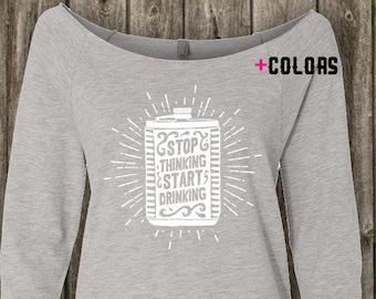 Stop Thinking Start Drinking - Womens Graphic Shirt, Ladies Screen Printed Shirt, 3/4-Sleeve in Heather Grey