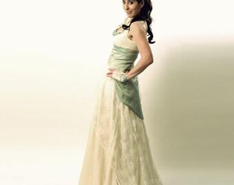 Aqua Brautkleid mit Schwalbenschwanz Spitzen-Up - Mermaid Brautkleid - alternative Hochzeitskleid benutzerdefinierte, MALAM
