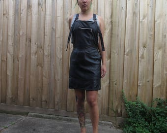 Black leather dungarees overalls