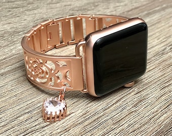Rose Gold Bracelet for Apple Watch All Series Handmade CZ Crystal Heart Pendant Jewelry Band Rose Gold Color Adjustable Apple Watch Band